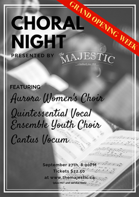 The Majestic: Choral Night: AURORA WOMEN'S CHOIR at The Majestic Theatre Wed Sep 27 2017 at 8:00 pm
